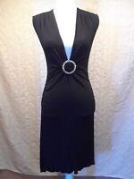 XOXO Collection Womens Black Ruched Sleeveless V-Neck Dress Size M
