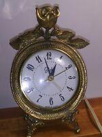 Vintage Gold Tone Round Rose Flower Globe Alarm Clock USA Made