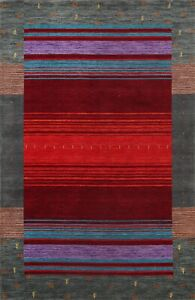 Contemporary Geometric Gabbeh Oriental Area Rug Wool Hand-knotted Carpet 6x8 ft