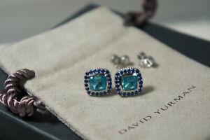 David Yurman 925 Silver 585 BLUE Topaz Sapphire Petite Albion Earrings DY Pouch