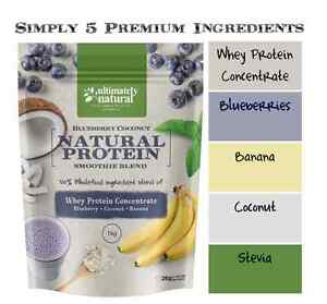 100% Natural Whey Protein Powder Shake Blueberry Coconut Blend Gluten Free