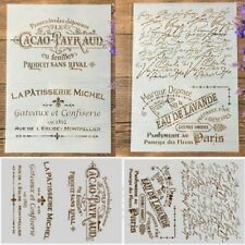 French Words Pattern Stamp Stencil DIY Scrapbook Decor Journal Diary Art 2pcs