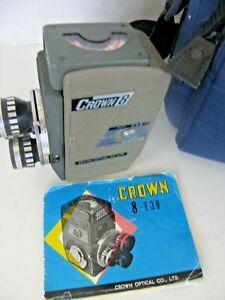 VINTAGE CROWN 8-E 3 B MOVIE CAMERA 8mm FORMAT-3 LENSES