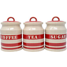 Red Tea Coffee Sugar Canisters For Sale Ebay