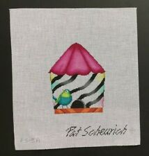 Pat Scheurich Hand-painted Needlepoint Canvas Bright & Colorful Bird & Birdhouse
