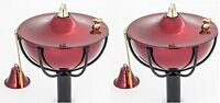 Set of 2 Cranberry Classic Maui Tiki Torches with Pole or in Tabletop Setting