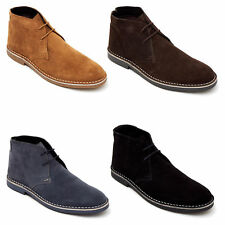Lucini Mens Real Suede Casual Retro Chukka Lace Desert Ankle Boots Leather Shoes