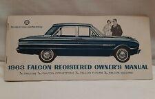 1963 Ford Falcon Owner Operators Manual Convertible Futura Wagon w/ Car Receipt