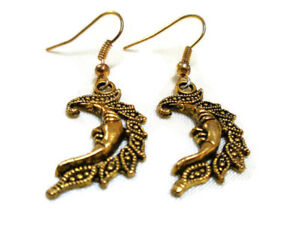 TWO PAIRS Gold Tone Crescent Moon Earrings Celestial Hook Boho Pagan Ladies Girl