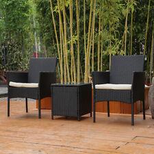 3x Rattan Wicker Patio Furniture Table Chairs Set Outdoor Backyard Garden Black