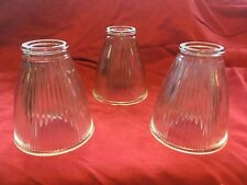 3 Ribbed Clear Glass Ceiling Fan or Pendant Lamp Shades, Bell Shaped