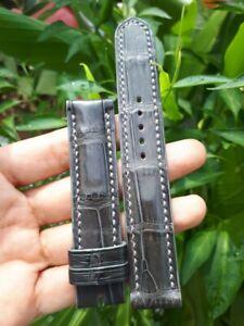 GRAY CROCODILE ALLIGATOR LEATHER WATCH STRAP BAND 19mm 18mm