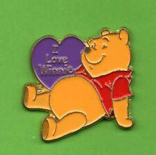 Pin's Pins lapel pin BD DISNEY Winnie l'ourson The  pooh I Love dans cœur violet