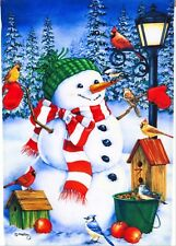 NEW EVERGREEN LARGE HOUSE FLAG SNOWMAN & BIRDS CHRISTMAS OR WINTER  29 x 43
