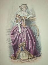 Gravure PORTRAIT COULEUR FEMME COSTUME LOUIS XIII 1860 MEDICIS MODE FASHION