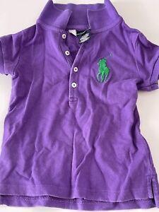 Worn Boys Kids Girls Children Purple Genuine Ralph Lauren POLO T-shirt Tops 3T