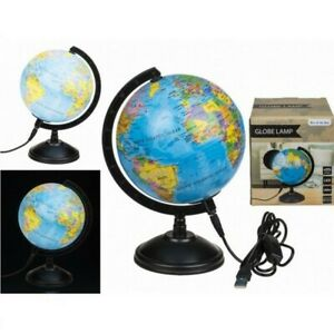USB World Globe Atlas Mood Light Bedroom Lounge Table Lamp Lighting Gift