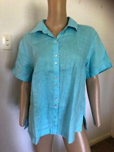 R M Williams short sleeve aqua 100% linen top shirt 14  EUC