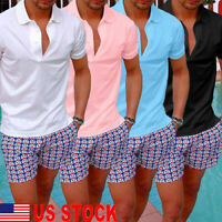 Men's Slim Fit Shirts Short Sleeve Casual Golf T-Shirt Jersey Tops Muscle Tee US