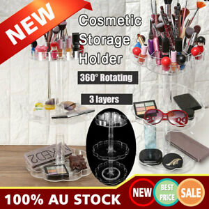 Acrylic 3 Tier 360Spin Rotating Clear Makeup Cosmetic Box Storage Organizer Case