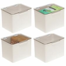 mDesign Plastic Stackable Household Storage Bin with Lid - 4 Pack - Cream/Clear