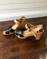 "FUNKIS ""Annika"" Black Leather Sandals Clogs Heels Size 39 RRP $189.00"