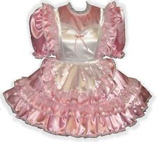 """Maurice"" Custom Fit PINK SATIN PINAFORE Adult LG Baby Sissy Dress LEANNE"