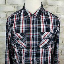 Eighty Eight Western Shirt Long Sleeve Flip Cuff Plaid Pearl Snaps Pocket ~Sz XL