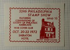 Sepad Philadelphia Stamp Show 1972 Betsy Ross House Philatelic Souvenir Ad Label