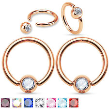 Pair Rose Gold IP CZ Surgical Steel Helix Lip Septum Piercing Captive Ring 14g