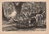 Hirschjagd Jagd Pferdegespann Rotwildjagd HOLZSTICH von 1883 Jagdmotiv Jagdbild