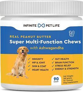 Super Multi-Function Vitamin Dog Chews Immunity Hip Joint Heart Brain Health USA