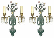 Pair Antique Verdigris Green Patinated Neoclassical Bronze Sconces