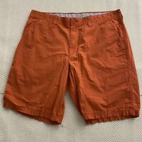 "Columbia 36 x 10"" Orange 100% Cotton Flat Front Chino Shorts"