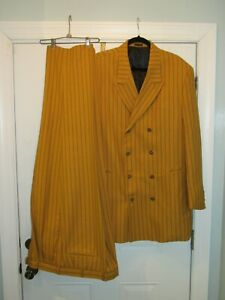 Men's Mustard Striped Supreme Pontelli Uomo Double Breasted Zoot Suit 46R 39/40