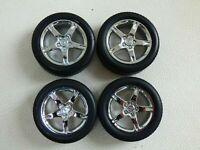 Original 4 Wheels & Tyres For Toy Model Car Autoart Lexus GS 400 Chromed 1:18