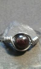 Handmade Natural Red Garnet Gemstone Silver Wire Wrapped Ring ANY SIZE