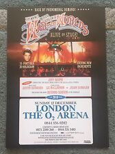 The War Of The Worlds Feat. Jason Donovan Live At O2 Arena A5 tour Flyer  Card