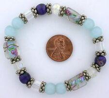 Glass Pewter Stretch Bead Bracelet ms32 Dark & Light Blue Floral Flower Lampwork