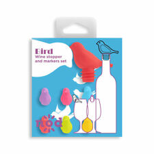 Nod Bird Silicone Wine Glass Charms / Drink Markers & Bottle Stopper - Set of 7
