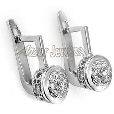 14k Solid White Gold Genuine Diamond Earrings Russian Jewelry Earrings Malinka