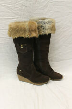 Roos Womens Leather Boots Fur Trim Size 8.5 Excellent Used Condition Hardly 1339