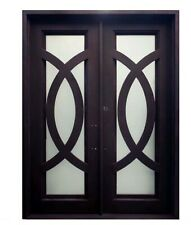 """Iris Double Front Entry Wrought Iron Door Frost Glass 60"""" x 96"""" Right Active"""