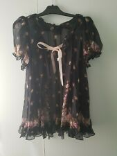 Agent Provocateur Size 3 Syble Gown Black Floral Silk Frill Floaty Lingerie Sexy