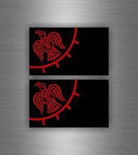 2x Sticker car decal biker banner tuning helmet viking raven vinland flag odin