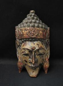 VINTAGE SOUTH EAST ASIAN HANDCARVED WOODEN WALL MASK FACE BUDDHA GOD