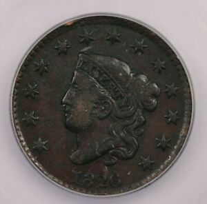 1826-P 1826 Coronet Head Cent 1c ICG F12 Looks VF+