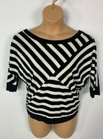 WOMENS DOROTHY PERKINS BLACK&WHITE 3/4 SLEEVE BOAT NECK STRETCH SHIRT SIZE UK 14