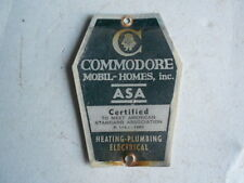 Commodore Mobil-Homes Asa Certified Name Plate Heating Plumbing Electrical 1963