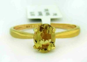 GENUINE 0.75 Cts YELLOW TOPAZ RING 10K YELLOW GOLD * Free Certificate Appraisal